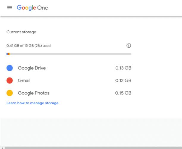 La cuenta de Gmail de la página de almacenamiento de Google no recibe correos electrónicos