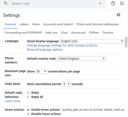 La cuenta de Gmail en la pestaña General no recibe correos electrónicos