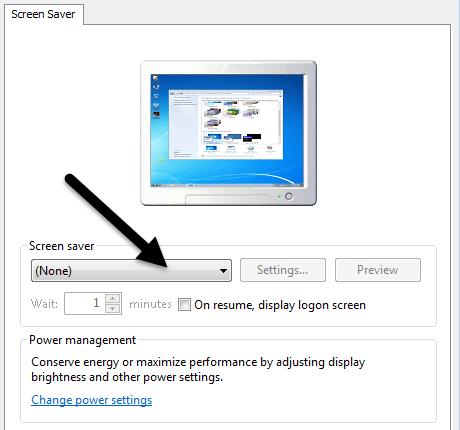 configuración del protector de pantalla