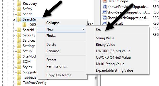 nuevo registro de claves