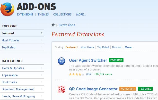 complementos del sitio web de Firefox
