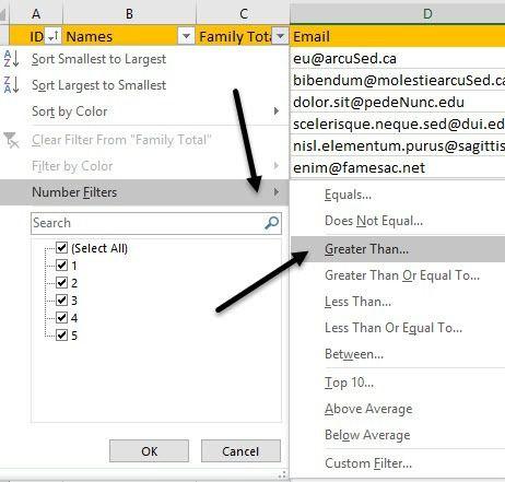 filtro de número de Excel
