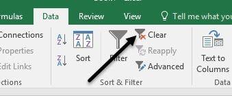 filtro claro en Excel