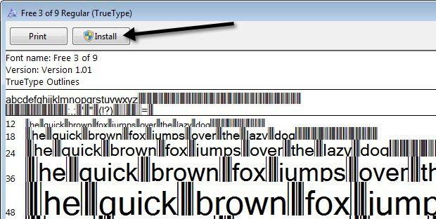 Abra la carpeta y es posible que vea varios archivos, uno de ellos terminando con TTF, que significa True Type Font.  Haga doble clic en el archivo de fuente y aparecerá una ventana que le mostrará la fuente del código de barras en diferentes tamaños.
