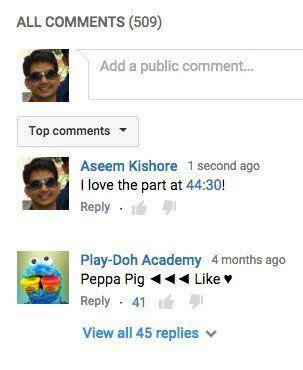 comienzo del comentario de youtube