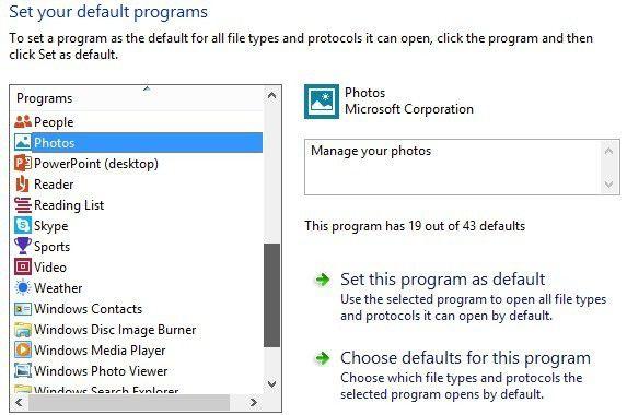 Programas predeterminados de Windows 8