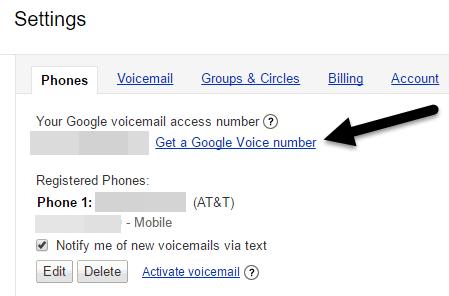 obtener el número de voz de Google