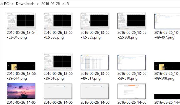 capturas de pantalla almacenadas