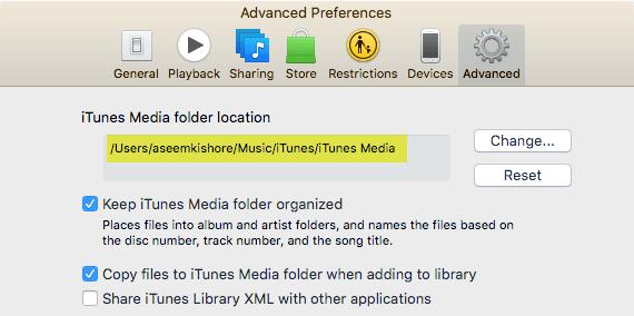 Preferencias avanzadas de iTunes