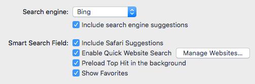 opciones de búsqueda de safari