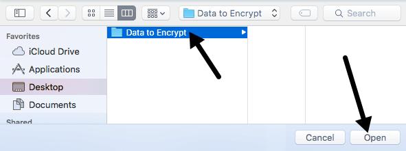 elige la carpeta para encriptar