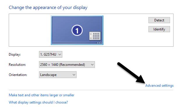 configuración de pantalla avanzada