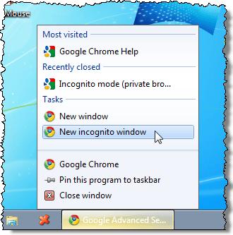 Abra una nueva ventana de incógnito de Chrome desde la barra de tareas