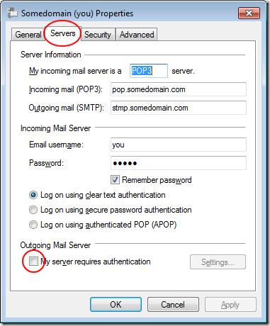 Autenticación del servidor saliente de Windows Live Mail