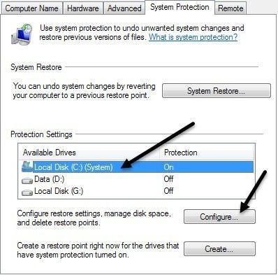 configurar la restauración del sistema