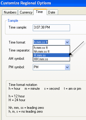 Formato de hora de Windows