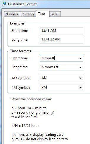 personalizar el formato de hora