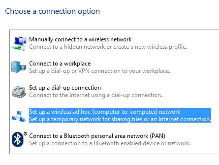 configurar una conexión ad hoc