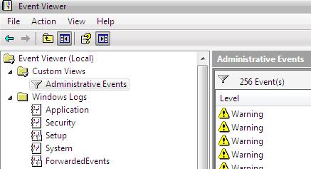 registro de eventos de la aplicación