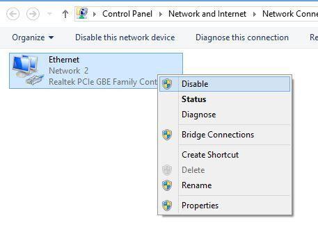Desactivar la conexión de red