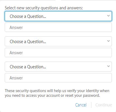 ingrese preguntas de seguridad