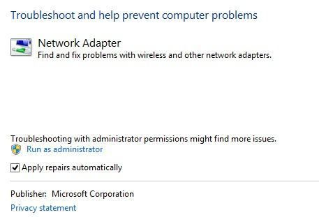 solucionar problemas del adaptador de red