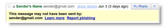 mensaje de advertencia de gmail