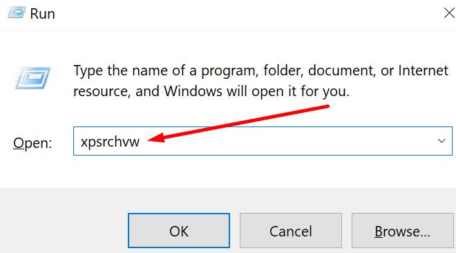 abre la ventana de ejecución del visor xps