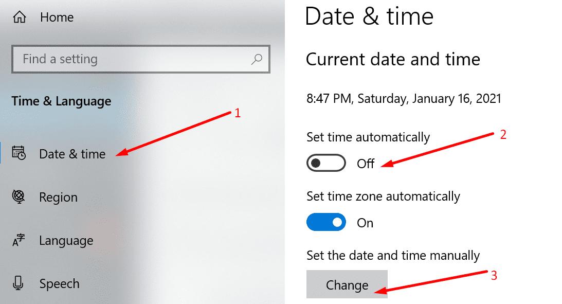 configurar la fecha y la hora manualmente windows 10