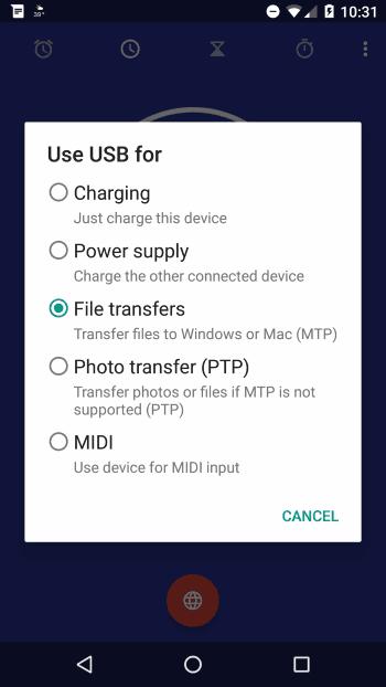 Opción de transferencia de archivos 5X