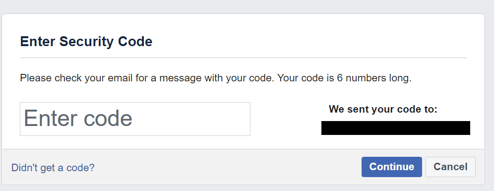 ingrese el código de seguridad de facebook