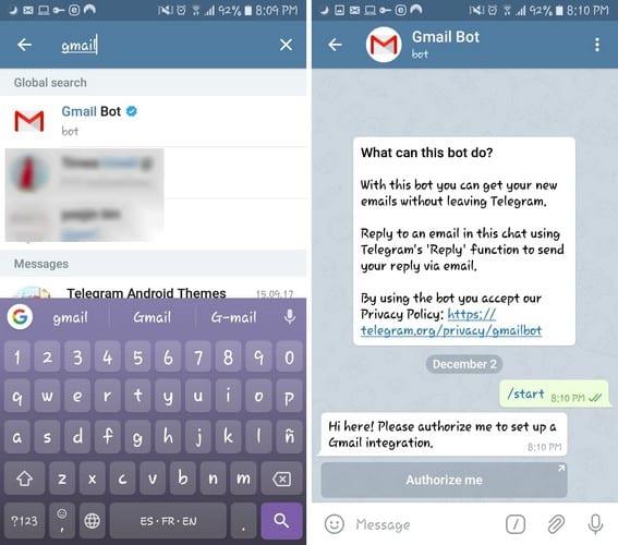 Android: acceda a los correos electrónicos de Gmail a través de Telegram