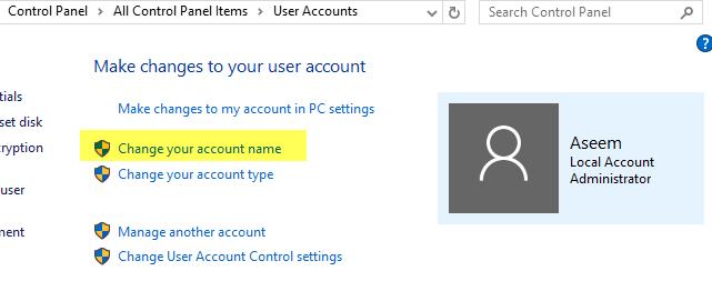 Cambie el nombre, la imagen y la contraseña de la computadora y el usuario en Windows 7, 8, 10