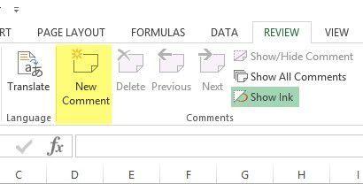 Excel 2013 comentario