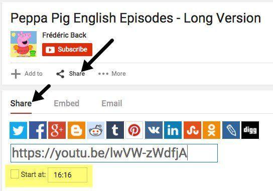 Cómo especificar un punto de partida para los videos de YouTube