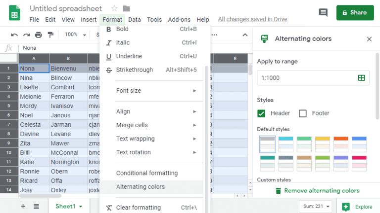 Hojas de cálculo de Google: cómo sombrear cada dos filas