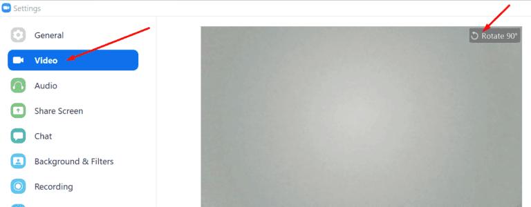 La cámara con zoom está invertida y el video está al revés