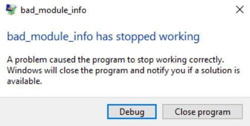Qué hacer cuando encuentra un error Bad_Module_Info