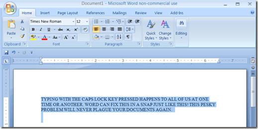 Restablecer el texto de bloqueo de mayúsculas a normal en MS Word
