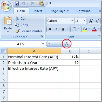 Encuentre un APY desde un APR en Excel