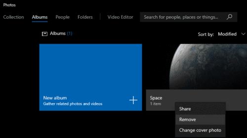Windows 10: elimine un álbum en la aplicación Fotos