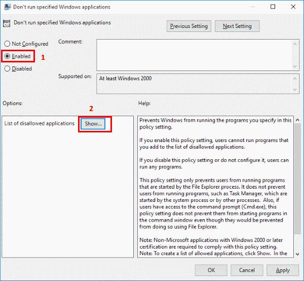 No ejecute la ventana de aplicaciones de Windows especificada