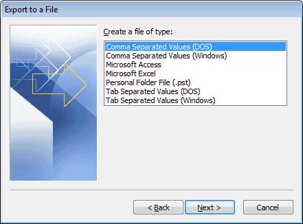 Opción de DOS con valores separados por comas