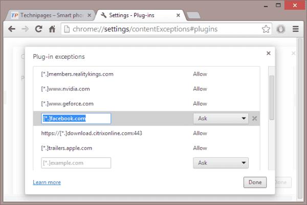 Chrome - Facebook Haga clic para jugar Excepción