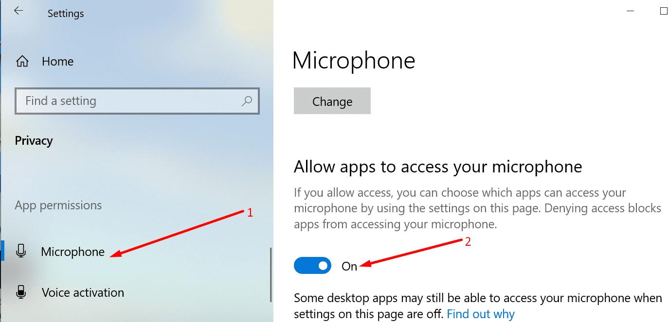 permitir que las aplicaciones accedan al micrófono windows 10