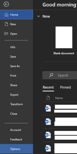 Cómo cambiar la cantidad de documentos recientes que se muestran en Word