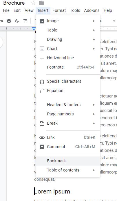 Enlace a una sección específica de Google Doc