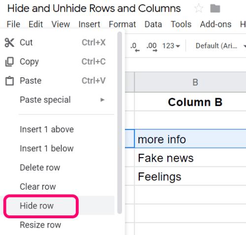 Hojas de cálculo de Google: ocultar / mostrar filas y columnas