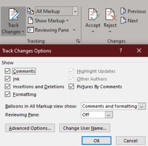 MS Word: Cómo ocultar los comentarios de los cambios de seguimiento