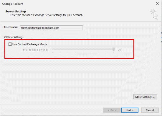 Outlook 2016: habilitar o deshabilitar el modo de intercambio en caché
